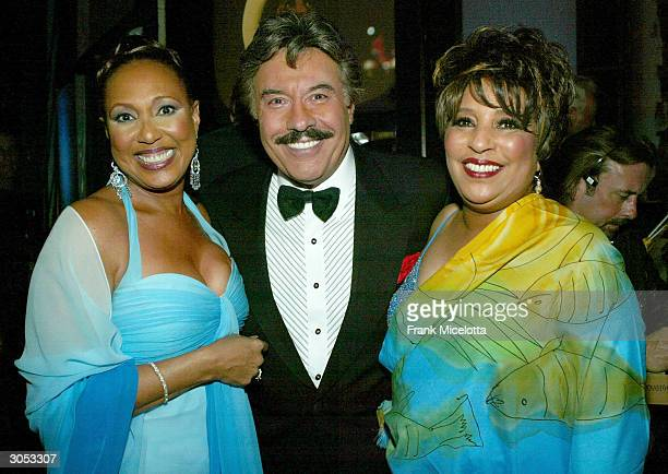 Actress/singer Thelma Hopkins singer Tony Orlando and singer Joyce Vincent Wilson of Tony Orlando and Dawn off stage at the 2nd Annual TV Land Awards...
