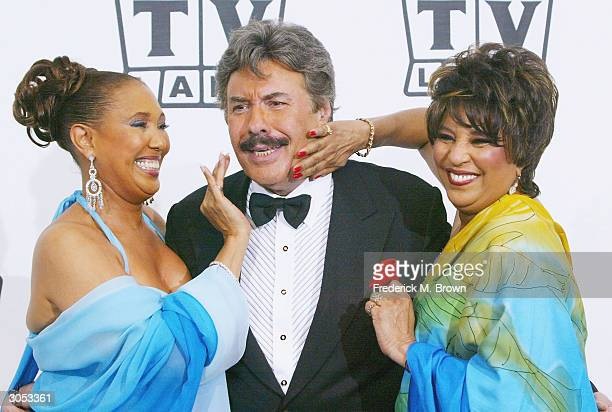 Actress/singer Thelma Hopkins singer Tony Orlando and singer Joyce Vincent Wilson of Tony Orlando and Dawn pose backstage at the 2nd Annual TV Land...