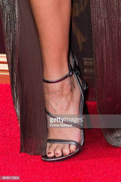 Actress/singer Vanessa Hudgens shoe detail arrives at the Creative Arts Emmy Awards at Microsoft Theater on September 10 2016 in Los Angeles...