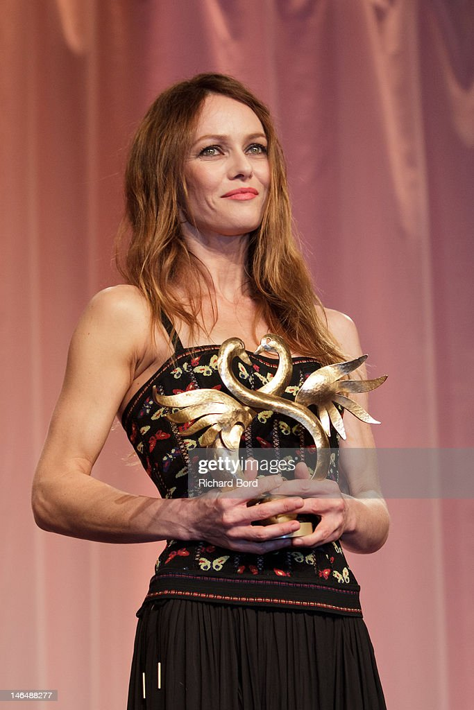 Actress/singer Vanessa Paradis is awarded 'Swann d'Honneur' during 26th Cabourg Romantic Film Festival on June 16, 2012 in Cabourg, France.