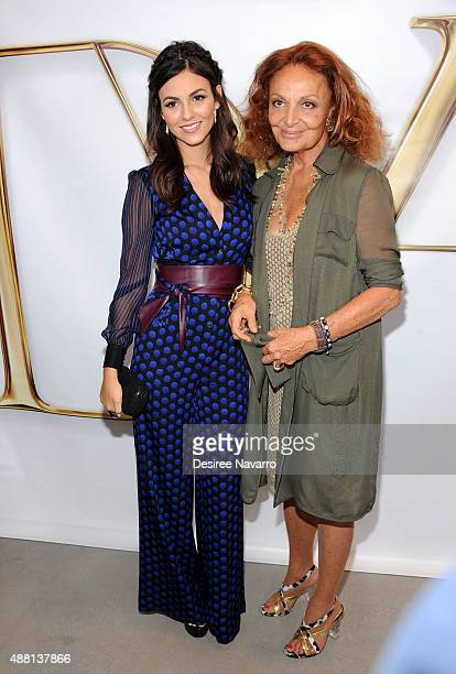 Actress/singer Victoria Justice and fashion designer Diane Von Furstenberg pose backstage at the Diane Von Furstenberg show during Spring 2016 New...