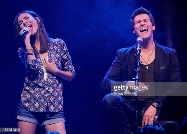 Actress/singer Victoria Justice and James Maslow of Big Time Rush perform at their press conference and tour announcement at House of Blues on April...