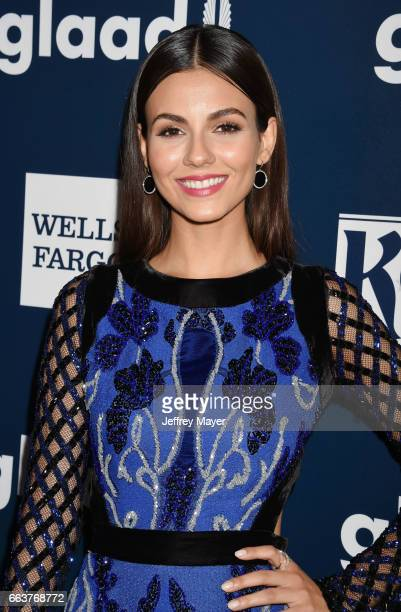Actress/singer Victoria Justice attends the 28th Annual GLAAD Media Awards in LA at The Beverly Hilton Hotel on April 1 2017 in Beverly Hills...