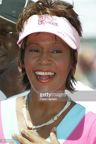 Actress/singer Whitney Houston arrives at The Princess Diaries 2 Royal Engagement Premiere held at Downtown Disneyland e on August 7 2004 in Anaheim...