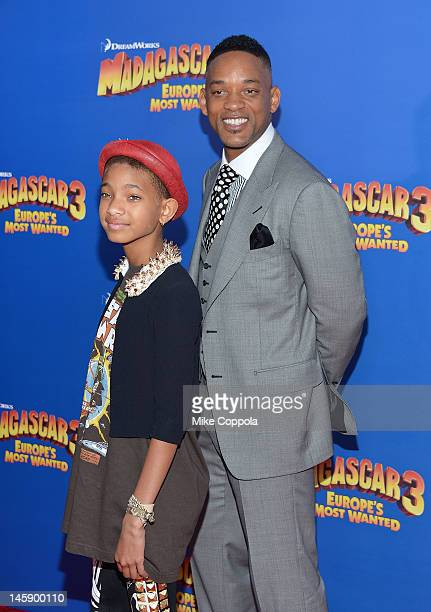 Actress/singer Willow Smith and actor Will Smith attend the Madagascar 3 Europe's Most Wanted New York Premier at Ziegfeld Theatre on June 7 2012 in...