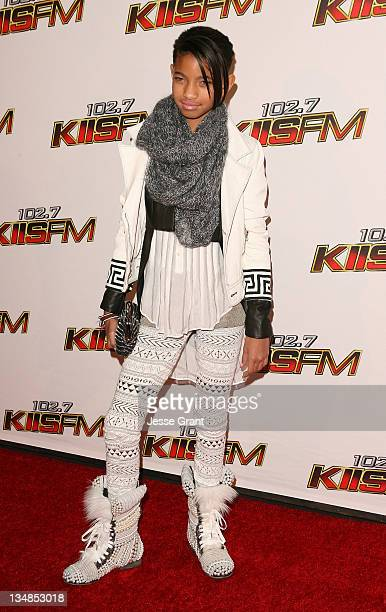 Actress/singer Willow Smith attends 1027 KIIS FM's Jingle Ball at the Nokia Theatre LA Live on December 3 2011 in Los Angeles California