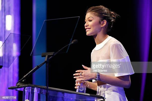 Actress/singer Zendaya accepts the Young Luminary Award onstage at the 2nd Annual unite4humanity presented by ALCATEL ONETOUCH at the Beverly Hilton...