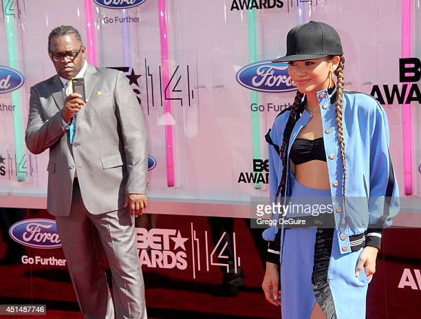 Actress/singer Zendaya and father Kazembe Ajamu Coleman arrive at the BET AWARDS 14 at Nokia Theatre LA Live on June 29 2014 in Los Angeles California
