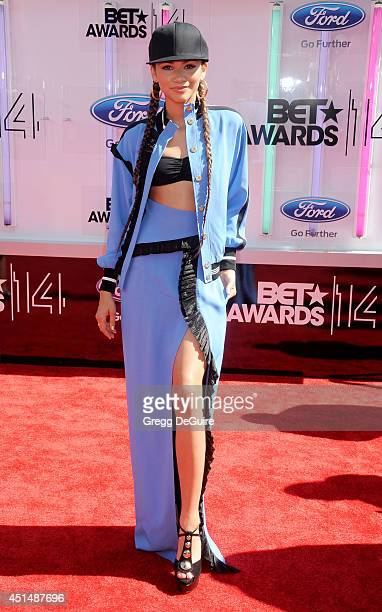 Actress/singer Zendaya arrives at the BET AWARDS 14 at Nokia Theatre LA Live on June 29 2014 in Los Angeles California