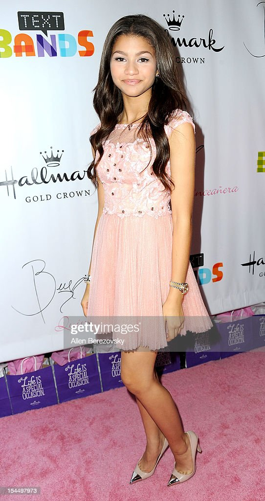 Actress/singer Zendaya attends Bella Thorne's Quinceanera in honor of her 15th Birthday presented by Hallmark Gold Crown and Text Bands on October 20, 2012 in Hollywood, California.