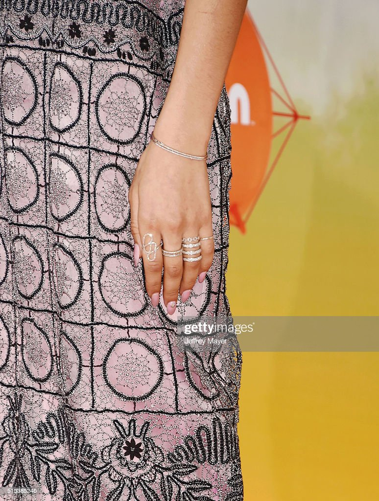 Actress/singer Zendaya, bracelet, ring detail, at Nickelodeon's 2016 Kids' Choice Awards at The Forum on March 12, 2016 in Inglewood, California.