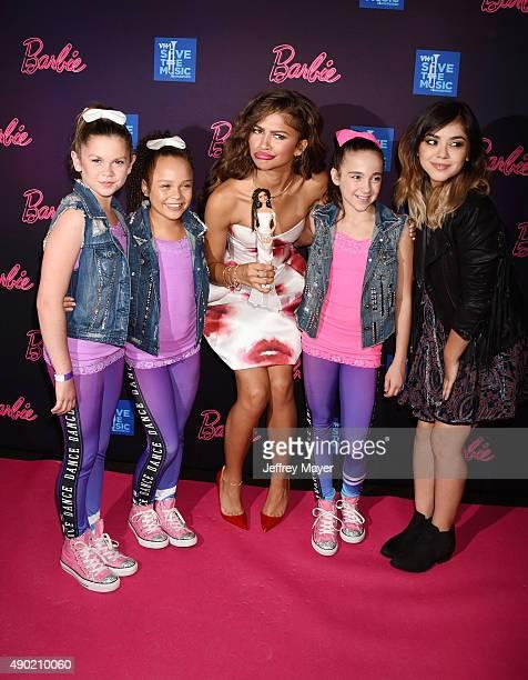 Actress/singer Zendaya Coleman dancer Kaycee Rice and singer/songwriter Alyssa Bernal attend the Barbie Rock 'N Royals Concert Experience at the...