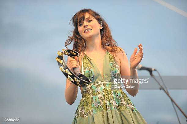 Actress/singer Zooey Deschanel of She and Him performs at the LA Times Celebration of Food Wine at Paramount Studio on September 5 2010 in Los...