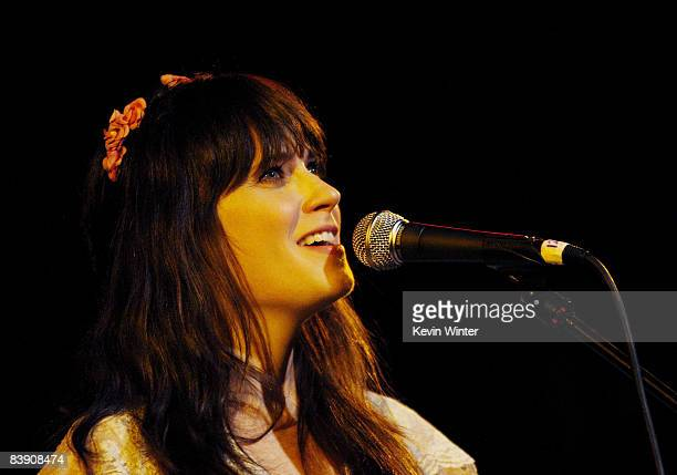 Actress/singer Zooey Deschanel performs at Rachel Fuller's In The Attic presented by Best Buy at the Troubador on November 7 2008 in West Hollywood...