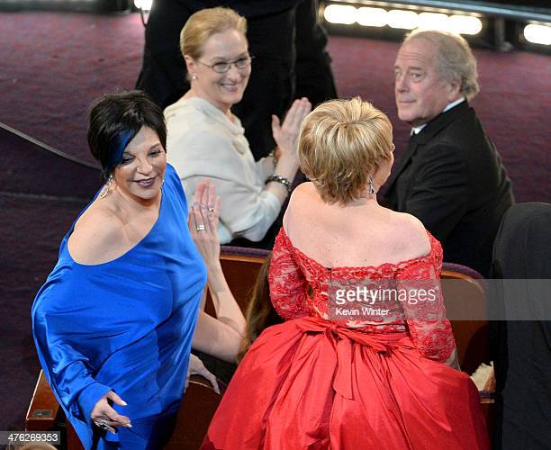 Actress/singers Liza Minnelli and Lorna Luft in the audience during the Oscars at the Dolby Theatre on March 2 2014 in Hollywood California