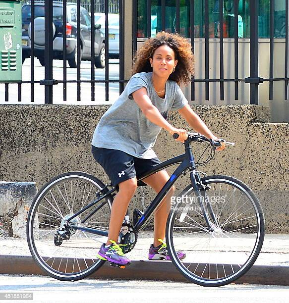 Actress/Singers Willow Smith and Jada Pinkett Smith are seen biking in Soho on July 8 2014 in New York City