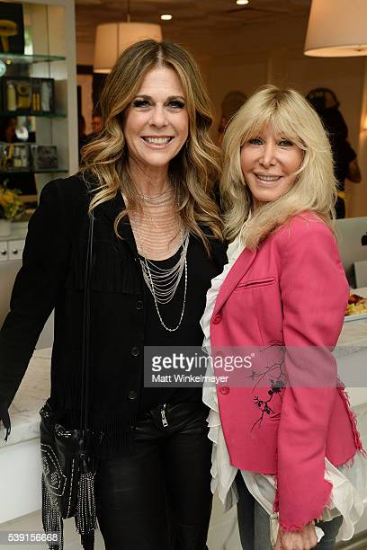 Actress/singersongwriter Rita Wilson interacts with guests during Beyond Blowouts Drybar hosts Exclusive Listening Party for Rita Wilson's new album...