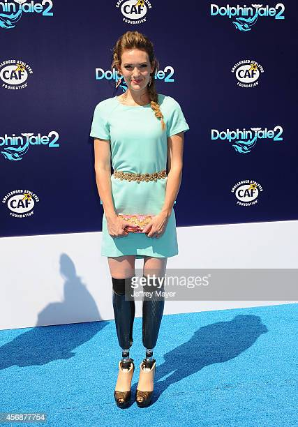 Actress/snowboarder Amy Purdy arrives at the Los Angeles premiere of 'Dolphin Tale 2' at Regency Village Theatre on September 7 2014 in Westwood...