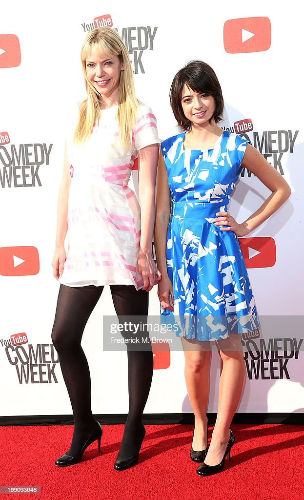 Actress/songwriters Kate Micucci (L) and Riki Lindhome attend YouTube Comedy Week Presents 'The Big Live Comedy Show' at Culver Studios on May 19, 2013 in Culver City, California.