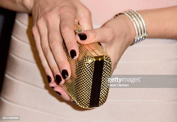 Actress/stunt woman Zoe Bell handbag attends InStyle and Warner Bros 73rd Annual Golden Globe Awards PostParty at The Beverly Hilton Hotel on January...