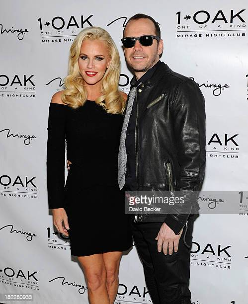 Actress/television host Jenny McCarthy and singer/actor Donnie Wahlberg arrive at 1 OAK Nightclub at The Mirage Hotel Casino on September 28 2013 in...