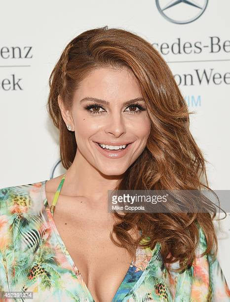 Actress/television host Maria Menounos poses for a picture at MercedesBenz Fashion Week Swim 2015 Official Coverage Day 3 at Raleigh Hotel on July 19...