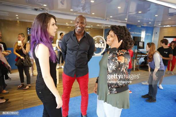 Actress/TV correspondent Alison Haislip actor Terry Crews and Wynfrey Crews at the Dell VR Experience at the 'SpiderMan Homecoming' World Premiere at...