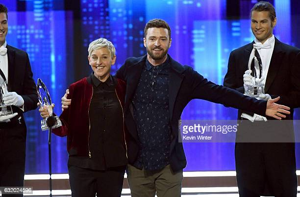 Actress/TV host Ellen DeGeneres accepts Favorite Animated Movie Voice for 'Finding Dory' from singer/actor Justin Timberlake onstage during the...