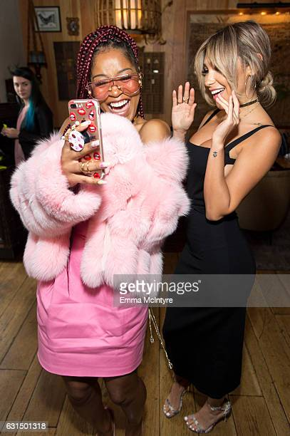 Actress/TV personality Keke Palmer and model Chantel Jeffries attend 'ShoeDazzle x Keke Palmer Kicking it with Keke Ladies who lunch' at Estrella on...