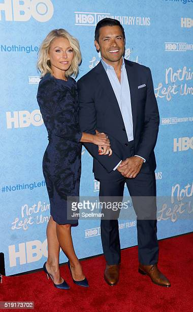 Actress/TV personality Kelly Ripa and actor Mark Consuelos attend the Nothing Left Unsaid New York premiere at Time Warner Center on April 4 2016 in...