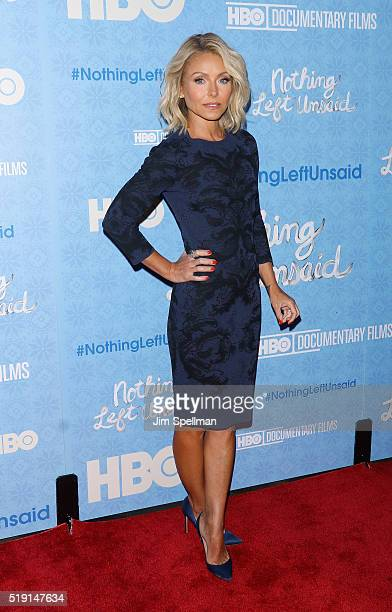 Actress/tv personality Kelly Ripa attends the 'Nothing Left Unsaid' New York premiere at Time Warner Center on April 4 2016 in New York City