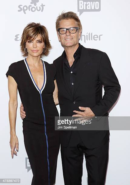 Actress/tv personality Lisa Rinna and actor Harry Hamlin attend the 2015 NBCUniversal Cable Entertainment Upfront at The Jacob K Javits Convention...