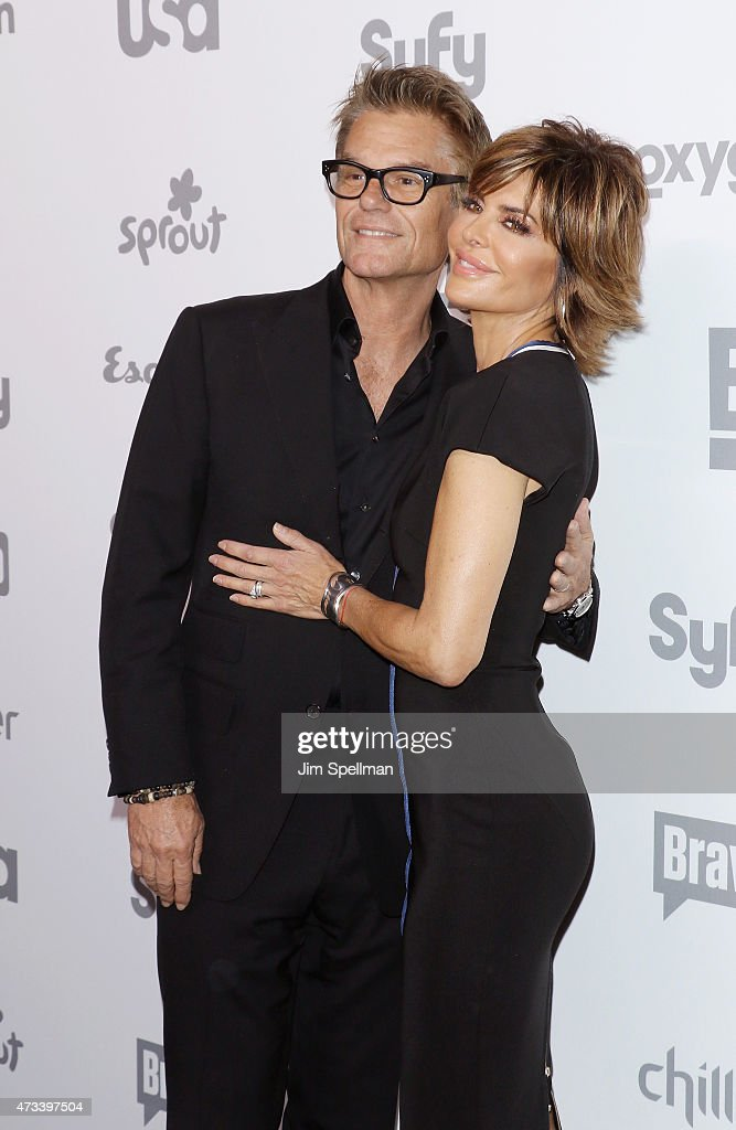 Actress/tv personality Lisa Rinna and actor Harry Hamlin attend the 2015 NBCUniversal Cable Entertainment Upfront at The Jacob K. Javits Convention Center on May 14, 2015 in New York City.
