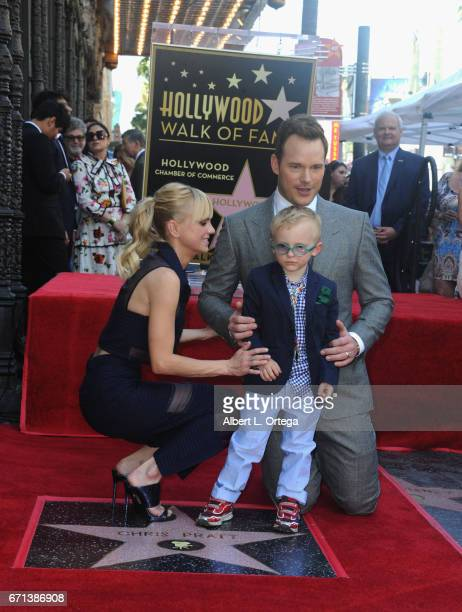 Actress/wife Anna Faris son Jack Pratt and actor Chris Pratt at Chris Pratt's Star Ceremony on the Hollywood Walk Of Fame held on April 21 2017 in...