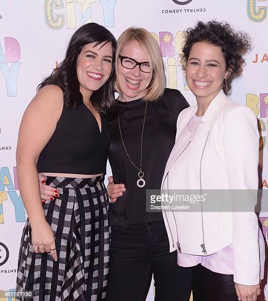 Actress/writer Abbi Jacobson actress Amy Ryan and actress/writer Ilana Glazer attend The Broad City Season 2 Premiere Party at 26 Bridge Street on...