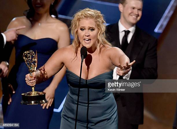 Actress/writer Amy Schumer accepts Outstanding Variety Sketch Series award for 'Inside Amy Schumer' onstage during the 67th Annual Primetime Emmy...