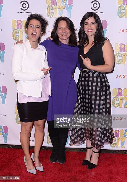Actress/writer Ilana Glazer Comedy Central President Michele Ganeless and actress/writer Abbi Jacobson attend The Broad City Season 2 Premiere Party...