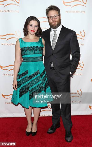 Actress/writer Lauren Miller and actor Seth Rogen attend the 2017 A Funny Thing Happened on the Way to Cure Parkinson's event at the Hilton New York...
