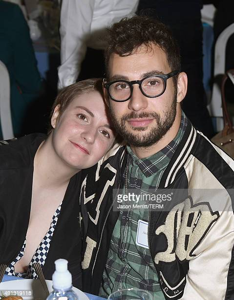 Actress/writer Lena Dunham and musician Jack Antonoff attend The Rape Foundation's annual brunch at Greenacres The Private Estate of Ron Burkle on...