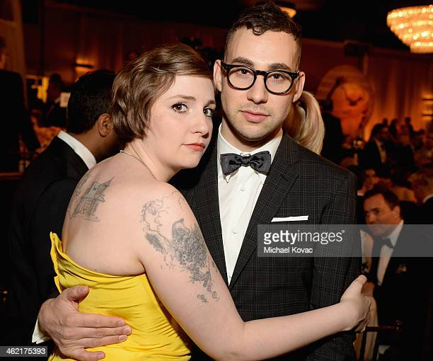 Actress/writer Lena Dunham and musician Jack Antonoff with Moet Chandon At The 71st Annual Golden Globe Awards at the Beverly Hilton Hotel on January...