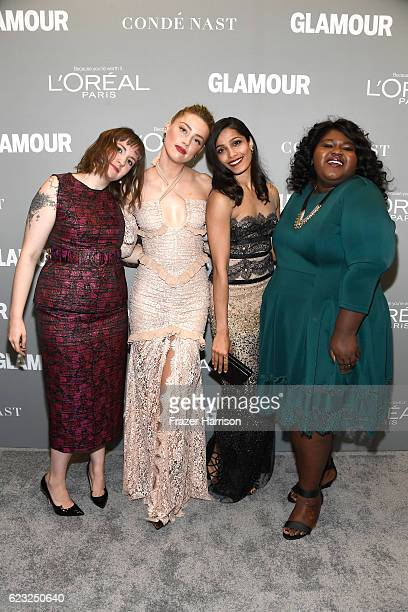Actress/writer Lena Dunham model/actress Amber Heard actress Freida Pinto and actress Gabourey Sidibe attend Glamour Women Of The Year 2016 at...