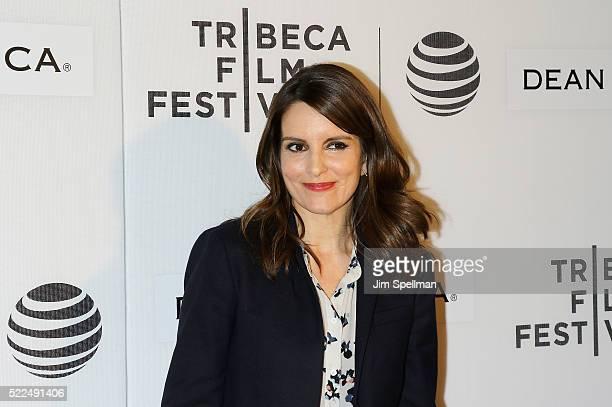 Actress/writer Tina Fey attends the 2016 Tribeca Film Festival Tribeca Talks StorytellersTina Fey with Damian Holbrook at John Zuccotti Theater at...
