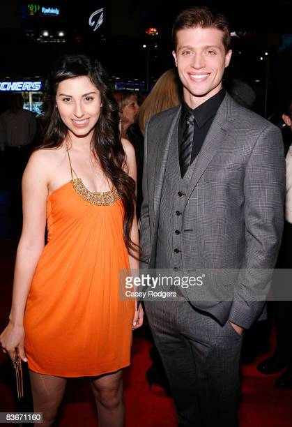 Actress/writer/director AnneSophie Dutoit and actor Brock Vincent Kelly arrive at the premiere of Faded Memories on November 12 2008 in Universal...