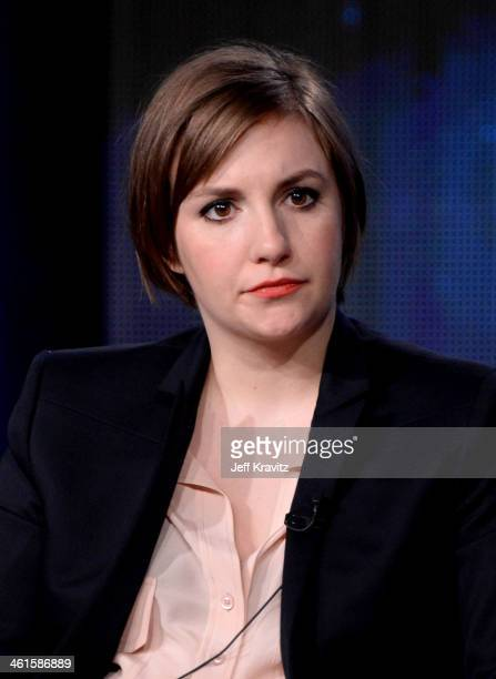 Actress/writer/executive producer Lena Dunham speak onstage at the Girls panel during the HBO Winter 2014 TCA Panel at The Langham Huntington Hotel...