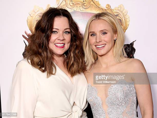 """Actress/writer/executive producer Melissa McCarthy and actress Kristen Bell attend the premiere of USA Pictures' """"The Boss"""" at Regency Village..."""