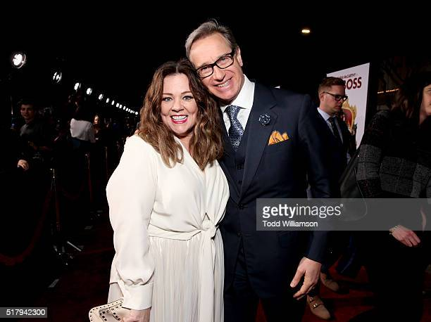 """Actress/writer/executive producer Melissa McCarthy and director Paul Feig attend the premiere of USA Pictures' """"The Boss"""" at Regency Village Theatre..."""