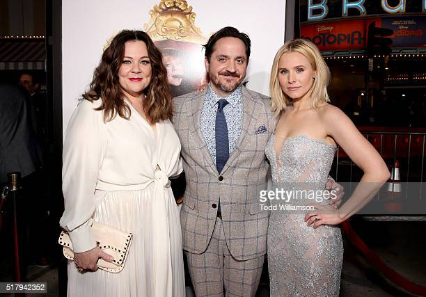 Actress/writer/producer Melissa McCarthy, director/writer/executive producer Ben Falcone and actress Kristen Bell attend the premiere of USA...