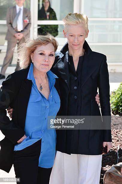 Actressws Kim Novak and Tilda Swinton attend the photocall for 'Only Lovers Left Alive' at The 66th Annual Cannes Film Festival on May 25 2013 in...