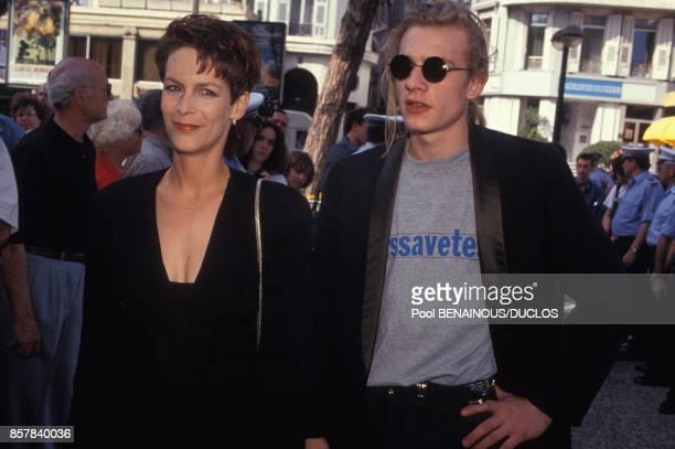 L'actrice americaine Jamie Lee Curtis membre du jury avec l'acteur Guillaume Depardieu au 45eme Festival de Cannes le 12 mai 1992 a Cannes France