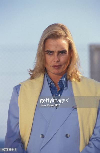 L'actrice americaine Margaux Hemingway a l'open de tennis de Nice le 18 avril 1992 a Nice France